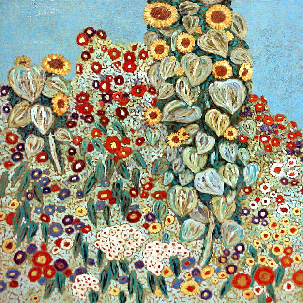Adam Antoni Rząsa Painting Farm Garden With Sunflowers Gustav Klimt